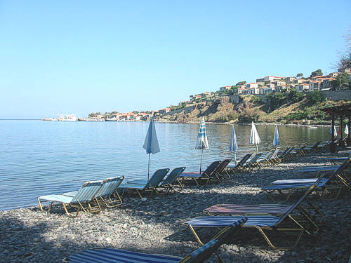 The Main Beach of Molivos where MOLYVOS I is located.